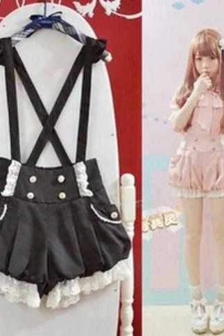 Kawaii Clothing Ropa Shorts Pantalones Suspender Gothic Lolita Harajuku Japan Korea Black Pink Wh294