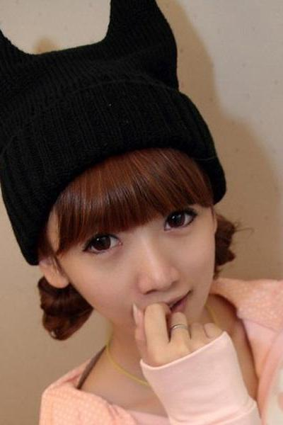 Kawaii Clothing Ropa Cute Hat Beanie Gorro Cat Black Harajuku Ears Demon Devil WH216