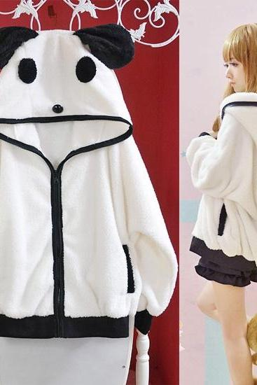 Kawaii Clothing Cute Harajuku Ropa Ears Panda Jacket Sweatshirt Hoodie Bear Ulzzang Bear White