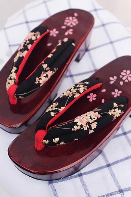 Kawaii Clothing Harajuku Geta Sandals Shoes Japanese Zapatos Geisha Wooden Flowers Ulzzang