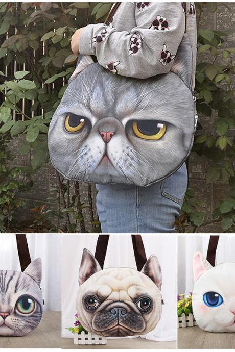 Kawaii Clothing Ropa Cute Bag Bolso Cat Dog Ears Tiger Japan Korea Cartoon Face