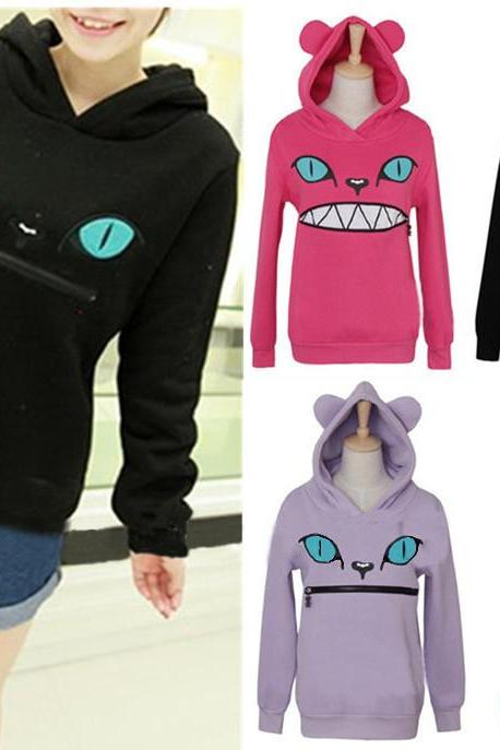 Kawaii Clothing Ropa Sweatshirt Cute Cat Ears Mouth Harajuku Hoodie Zipper Animal