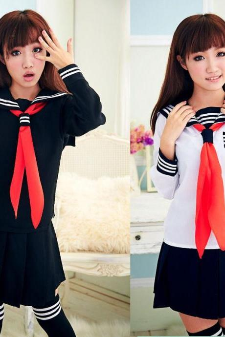 Kawaii Clothing Cosplay Sailor Uniform Costume Outfit Japanese Bow High School