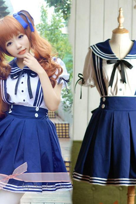 Kawaii Clothing Cute Ropa Sailor Outfit Uniform Japanese Korean Navy Bow Skirt School