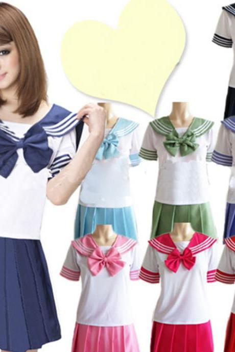 Kawaii Clothing School High Sailor Costume Japanese Uniform Navy Skirt Bow Anime